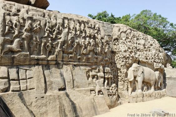 Mamallapuram, L'ascèse d'Arjun ou la descente du Gange 01, vue d'ensemble